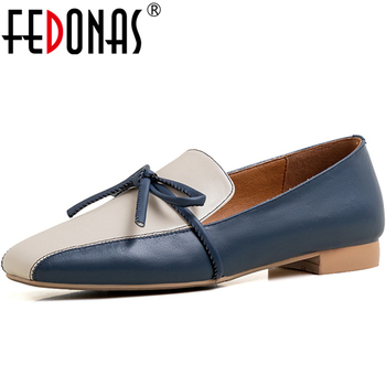 FEDONAS Spring Women Cow Leather Square Toe Low Heel Shoes Butterfly Knot Mixed Colors Elegant Concise Shoes Slip-On Shoes Woman
