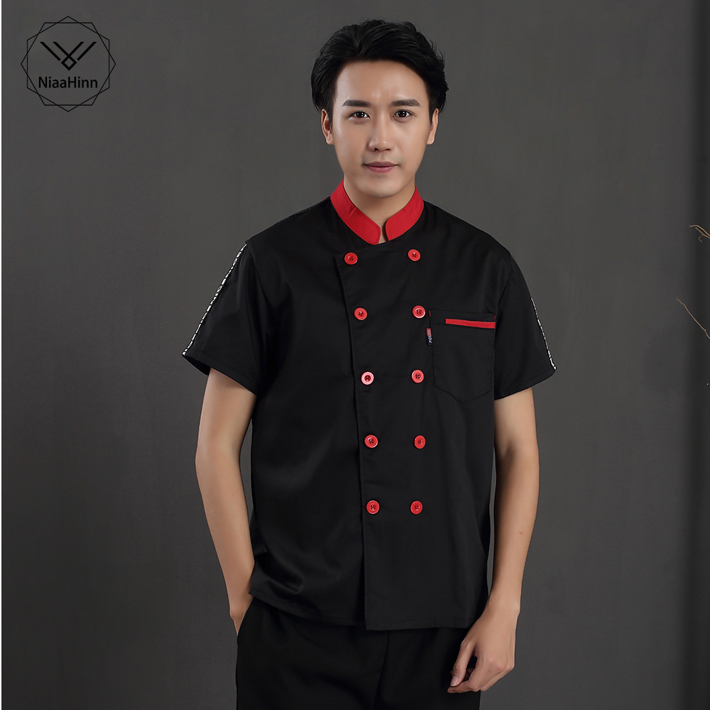Unisex Short Sleeve Chef Jacket Hotel Working Wear Man Woman Chef Restaurant Uniform Chef Coat Kitchen Work Clothes Overalls