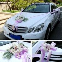 Wedding car decoration set fresh white simulation rose silk artificail flowers Valentine's Day wreath party wedding decoration