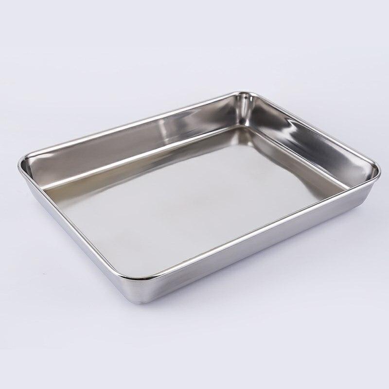 304 acier inoxydable plaque carrée cuisson pain cuisson Pizza plaque fond plat rectangulaire plaque étroite côté plateau