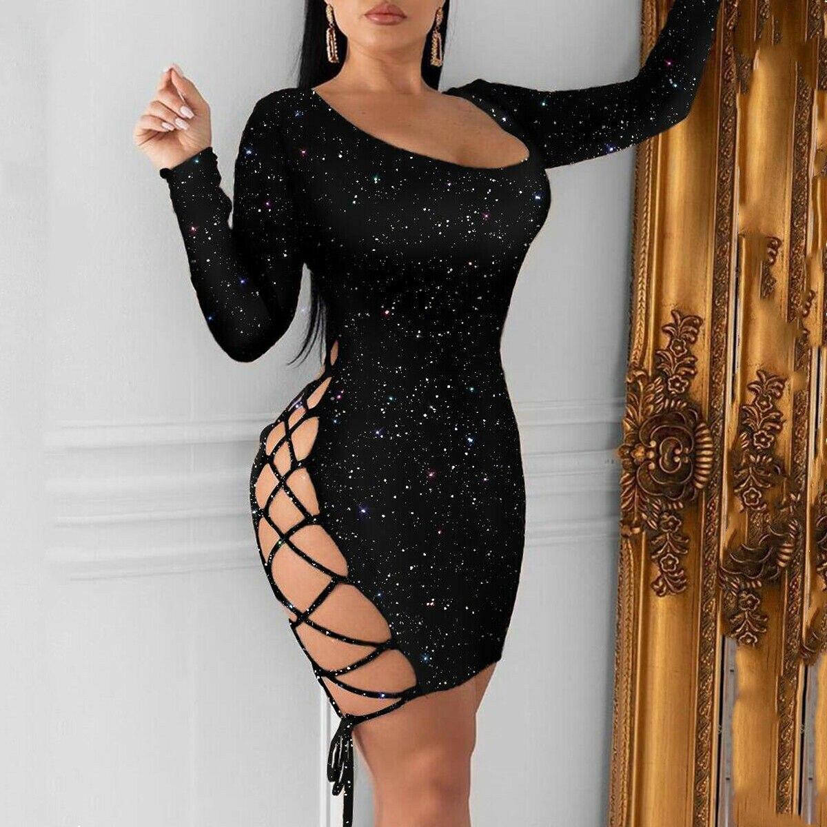 Meihuida Women Sexy Leopard Mini Dress Long Sleeve O-Neck Backless Skinny Stretch Short Dresses Night Club Sex Wear 7