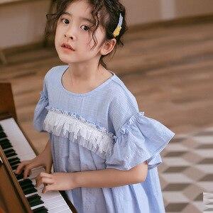 Image 5 - 2020 ילדים חדשים תחרה שמלת מותג בנות שמלת תינוק נסיכת שמלת ילדים קיץ שמלת כותנה אקארד חמוד פעוט בגדים, #5570