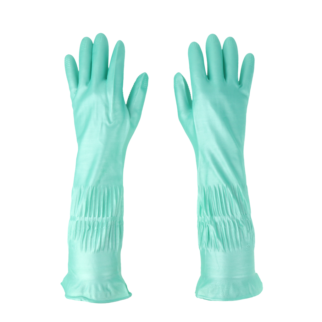 Latex&Nitrile Gloves Green 390mm Hand Safety Protection Kitchen Cleaning