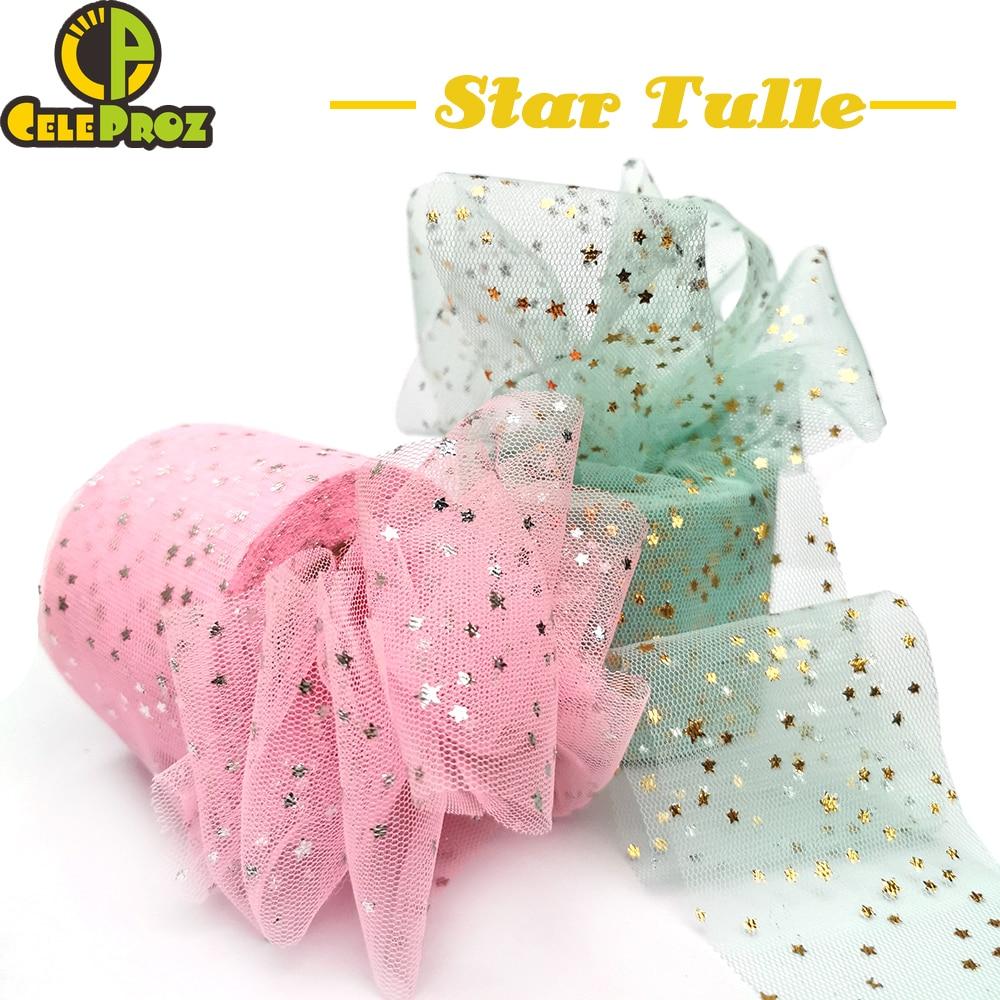 25Yards 6cm Star Tulle Confetti Glitter Mesh Baking Cake Topper Tutu Pom Bow Soft Squine Organza DIY Wedding Birthday Decoration 1