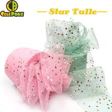 25Yards 6cm Star Tulle Confetti Glitter Tulle Baking Cake Topper Tutu Pom Bow Soft Squine Tulle DIY Wedding Birthday Decoration(China)