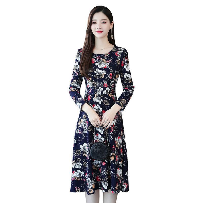Женское платье большого размера в винтажном стиле с цветочным принтом, длинное платье с длинным рукавом, 4XL, 5XL размера плюс, Повседневное платье, женская одежда