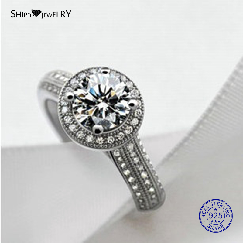 Shipei 1.4ct Sliver 925 Created Moissanite Ring For Women 100% Sterling Silver Engagement Promise Ring Anniversary Gift