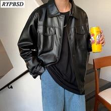 Jaqueta de couro do falso do plutônio dos homens da marca bombardeiro casaco único-breasted solto moda casual manga longa streetwear jaqueta de couro preto