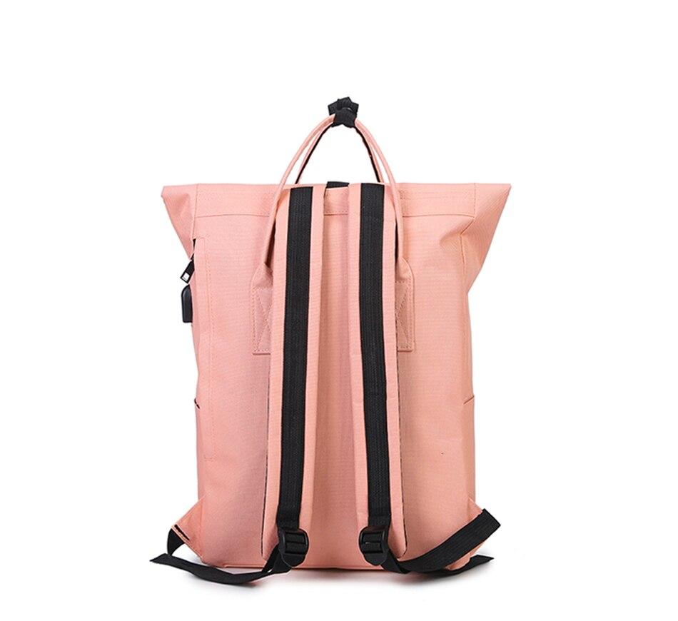 H57a4fd8b43194bb8b5b8e21010cf1348I TTOU Women External USB Charge Backpack Canvas School Backpack Mochila Escolar Girls Laptop Backpack