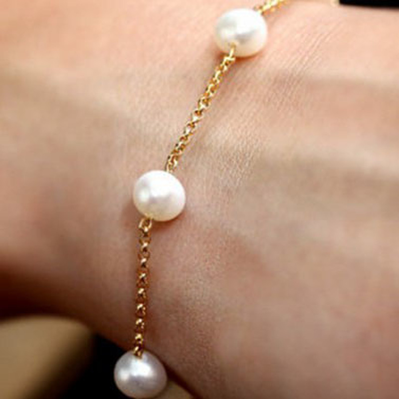 HebeDeer European Bracelets Women Tassel Bracelet Artificial Pearl Girl Rose Gold Color Fashion Jewelry Bohemia Alloy Armband