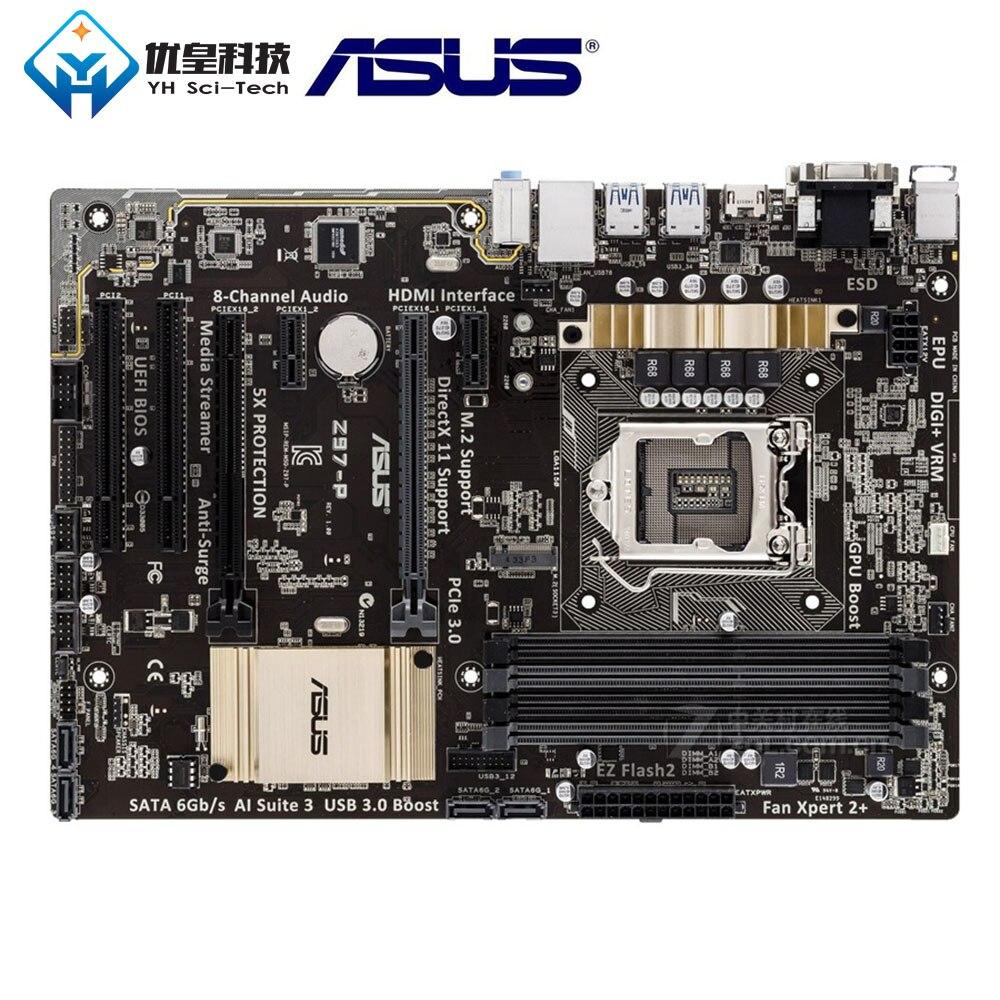 Original utilisé carte mère de bureau Intel Z97 Asus Z97-P Socket LGA 1150 Core i7/i5/i3/Pentium/Celeron DDR3 32G ATX