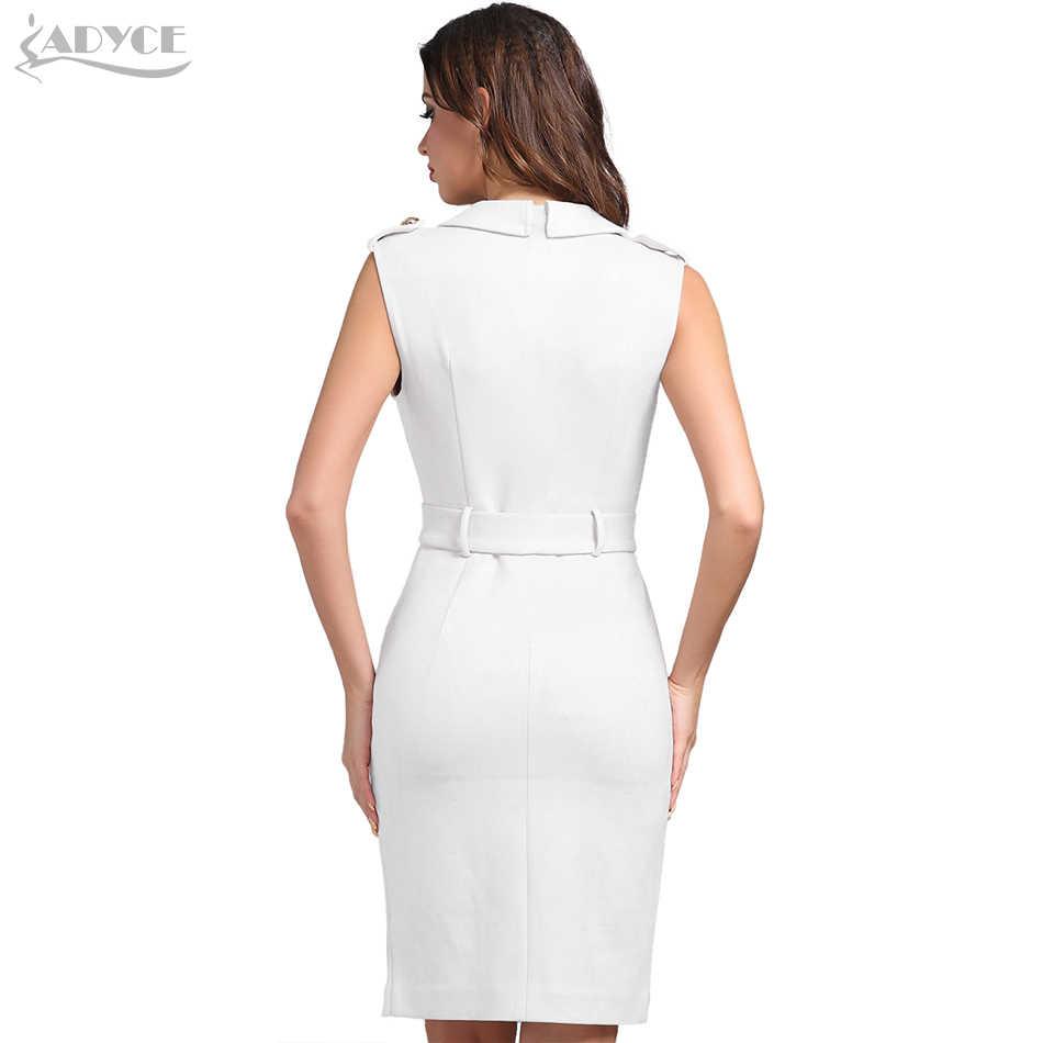 Adyce 2019 חדש קיץ אישה לבן עירום סלבריטאים ערב המפלגה שמלה סקסי עמוק V צוואר כפתור משובץ Bodycon מועדון שמלה vestidos