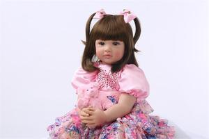 Image 2 - Muñecas de juguete Reborn de silicona de 24 pulgadas para niñas, Niñas de 60cm, princesas como Alive Bebe, Brinquedos, regalo de cumpleaños de colección limitada