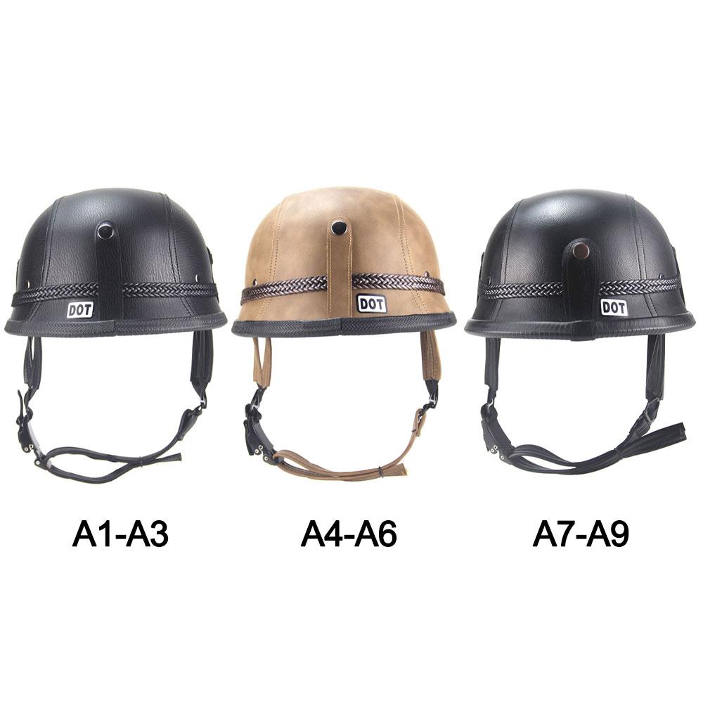 Купить с кэшбэком Adult Open Face Half Helmet PU Leather Motorcycle Racing Helmet Motorbike Helmet Safety Helmet For Women/Men