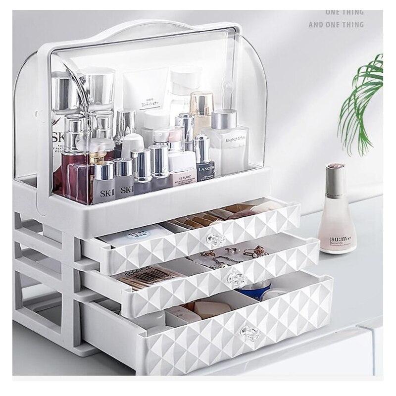 2020 new large capacity double open waterproof and dustproof jewelry skin care cosmetics makeup box drawer desktop storage box