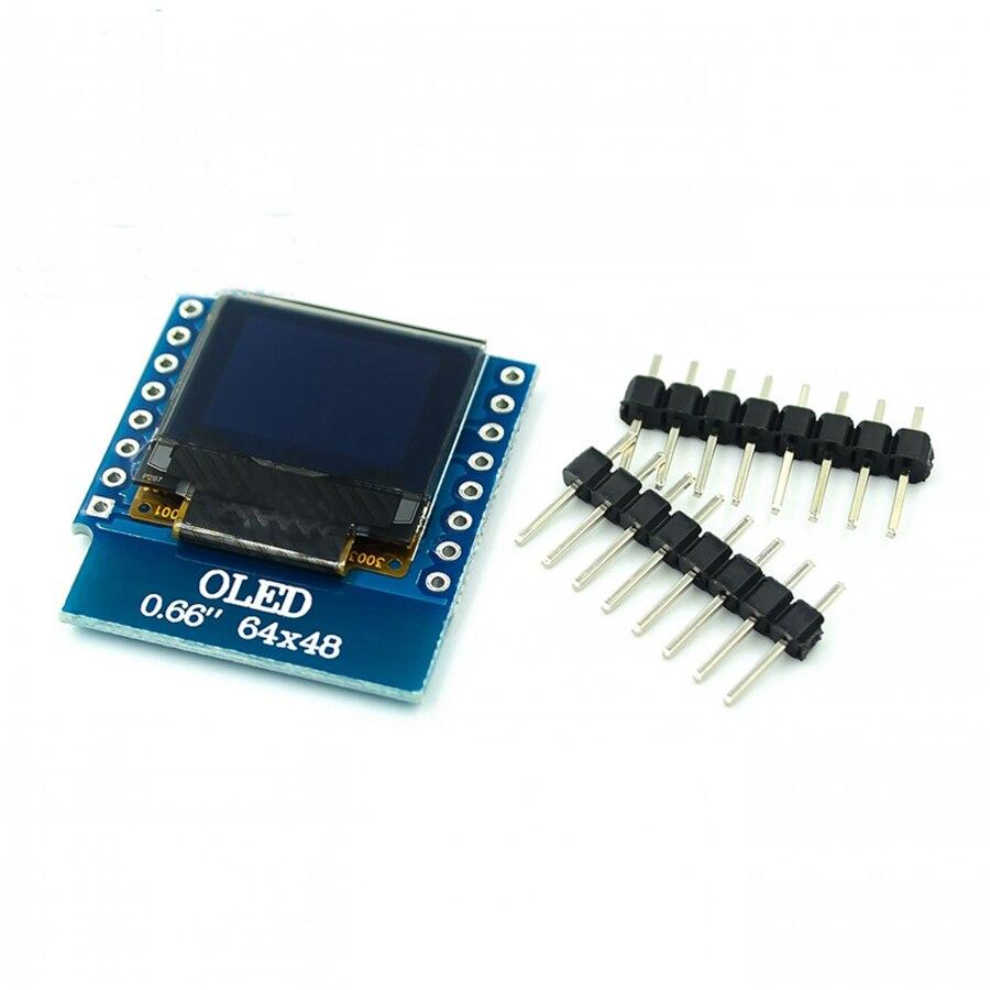 0.66 Inch OLED Display Module For WEMOS D1 MINI ESP32 Module AVR STM32 0.66inch 64x48 Oled Display Board LCD Screen IIC I2C OLED