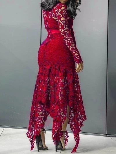 Echoine Slim Sexy Dress Women Spaghetti Straps Lace Mesh Perspective Party Fishtail Patchwork Midi Bodycon Plus Size Vestidos 3