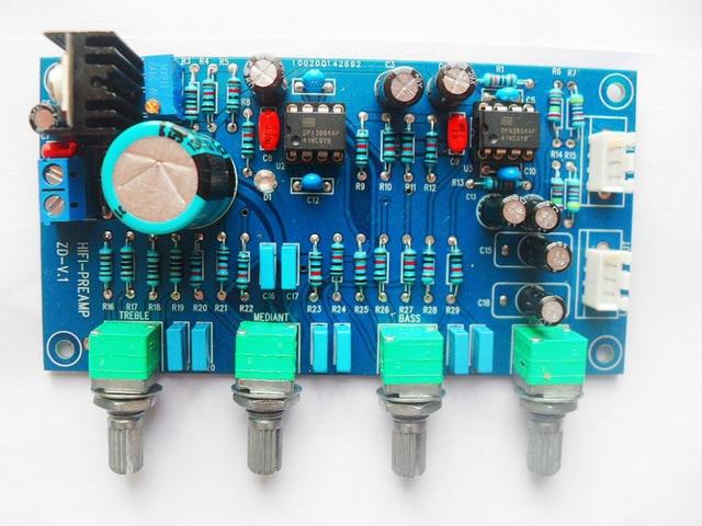 DC 12V 24V OPA2604 OPAMP Stereo Preamp ön amplifikatör ses tonu kontrol panosu amplifikatör kurulu için hoparlör