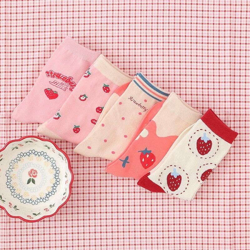 Strawberry Letter Cow Ankle Socks Cute Lovely Girls Lolita Sweet Fruit Patterned Short Socks Japanese Kawaii