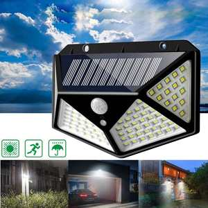 Image 4 - 100 LED 3 Modes Solar Power Wall Light With 2200mAh Battery Powered PIR Motion Sensor Outdoor Garden Lamp