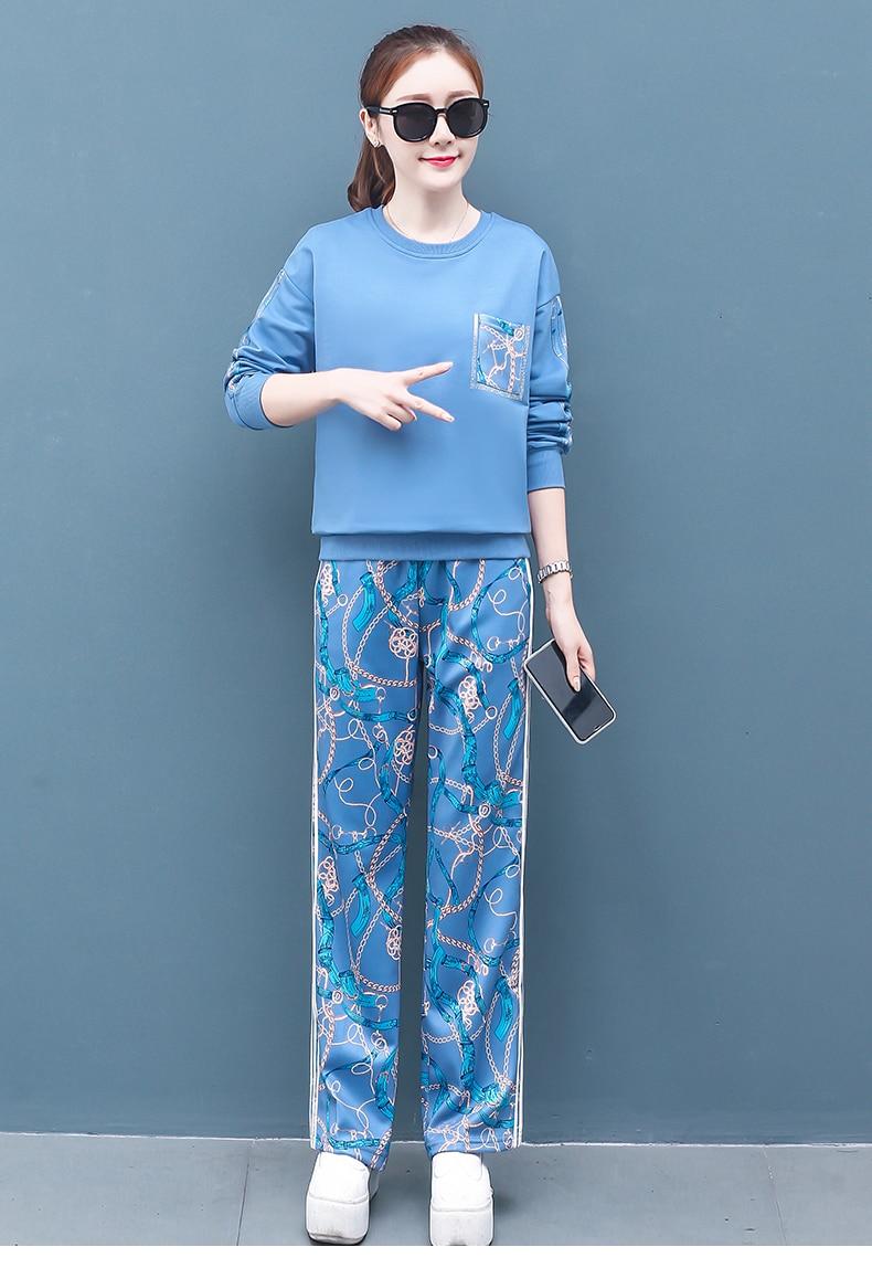 2019 Autumn Printed Sport Korean Two Piece Sets Outfits Women Plus Size Sweatshirt And Pants Suits Casual Fashion 2 Piece Sets 52