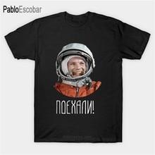 Camiseta de algodão de verão dos homens da marca tshirt urss cccp astronauta yuri gagarin cyrillic t-shirts masculino topo moda tamanho euro