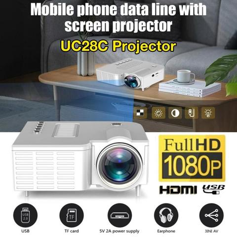 uc28c 16 7 m mini projetor alto falante embutido 20000 horas led lampada de cinema