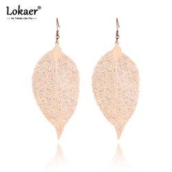Lokaer Fashion Titanium Stainless Steel Hollow Plant Leaves Earrings Jewelry Rose Gold Dangle Earrings For Women Girls E19243