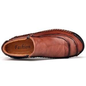 Image 5 - Nuevos zapatos de cuero para hombre, para Otoño Invierno, cosido a mano, suaves, resistentes al desgaste, con cremallera lateral, zapatos casuales de moda