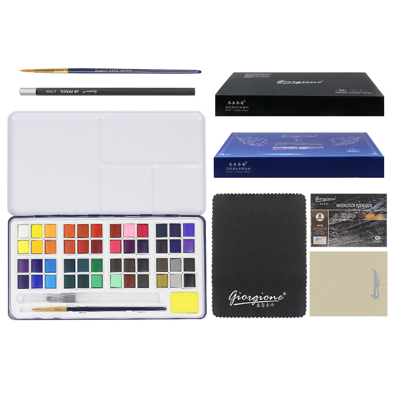 24/48 Colors Solid Water Color Paint Set Metal Iron Box Watercolor Painting Pigment Pocket Set For Drawing Art Supplies
