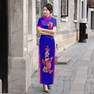 Bleu femmes Cheongsam à manches courtes Qipao Style chinois élégant longue robe de soirée de luxe robe moulante robe Vestido S-XXXL