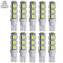 цена на 10Pcs T10 LED Car bulb 12V 5050 3W 6500K 300-Lumen 13-SMD indicator light license plate light White Light Bulbs