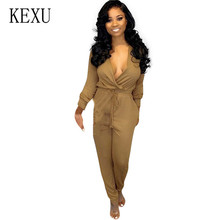 KEXU Women Casual Solid Strappy Dungarees Vintage Overalls Rompers Jumpsuits Sexy Deep V-neck Long Sleeve Bodycon Playsuits