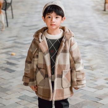 2020 Boy's New Autumn Winter Mid-length Handsome Plaid Brown Wool Coat
