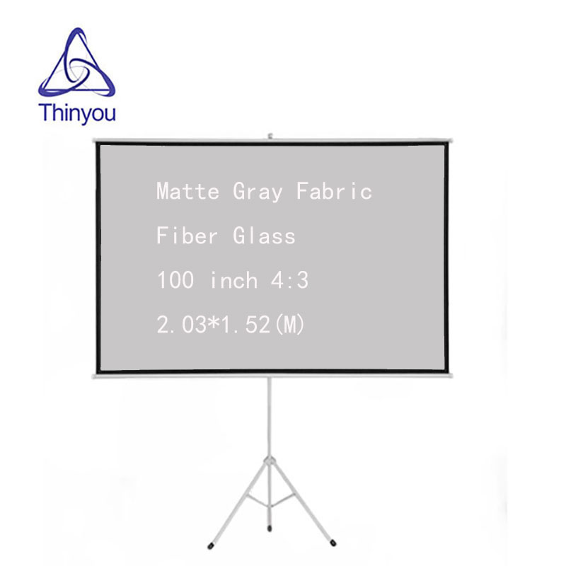 Thinyou Matte Gray Fabric Fiber Glass 100 inch 4:3 Tripod Projector Screen Bracket Gain Portable Pull Up Stable Stand Tripod