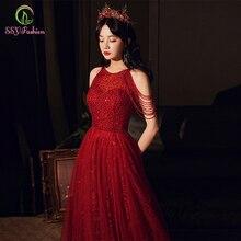 SSYFashion New Luxury Sequins Evening Dress Banquet Elegant Halter Wine Red Crystal Beading Prom Formal Gown Vestido De Festa