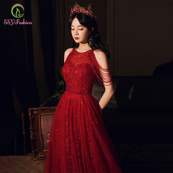 SSYFashion New Luxury Sequins Evening Dress Banquet Elegant Halter Wine Red Crystal Beading Prom Formal Gown Vestido De Festa - discount item  39% OFF Special Occasion Dresses