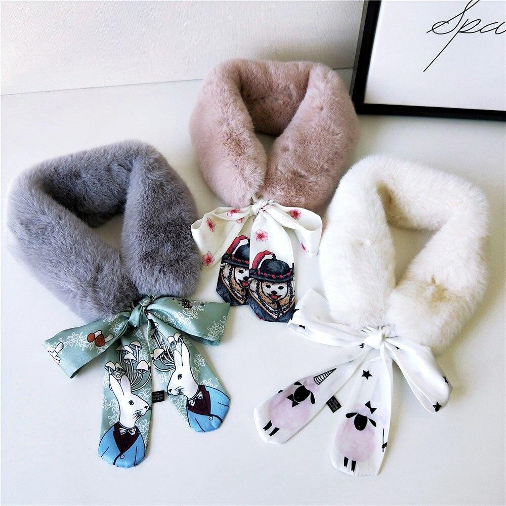 2019 New Fashion Soft Faux Rabbit Fur Collar Scarf Women Animal Print Neck Warmer Winter Shawl Wrap Girls Echarpe Femme Hiver