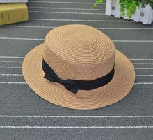 Женская соломенная шляпа Пляжная с плоским бантом края в гавайском