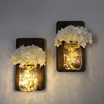 Set of Two Mason Jar Wall Sconces, Wood Hanging Wall Sconces With Flowers and Lights Home Decoration Living Room Lights