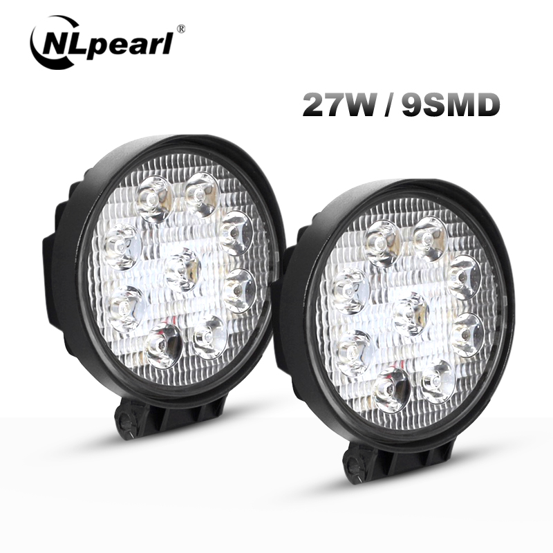 Nlpearl Licht Bar/Arbeit Licht 4 Inch <font><b>27W</b></font> <font><b>LED</b></font> Nebel Licht für Autos 12V 6000K Spot beam <font><b>Led</b></font> <font><b>Work</b></font> <font><b>Light</b></font> Bar für Lkw Offroad SUV ATV image