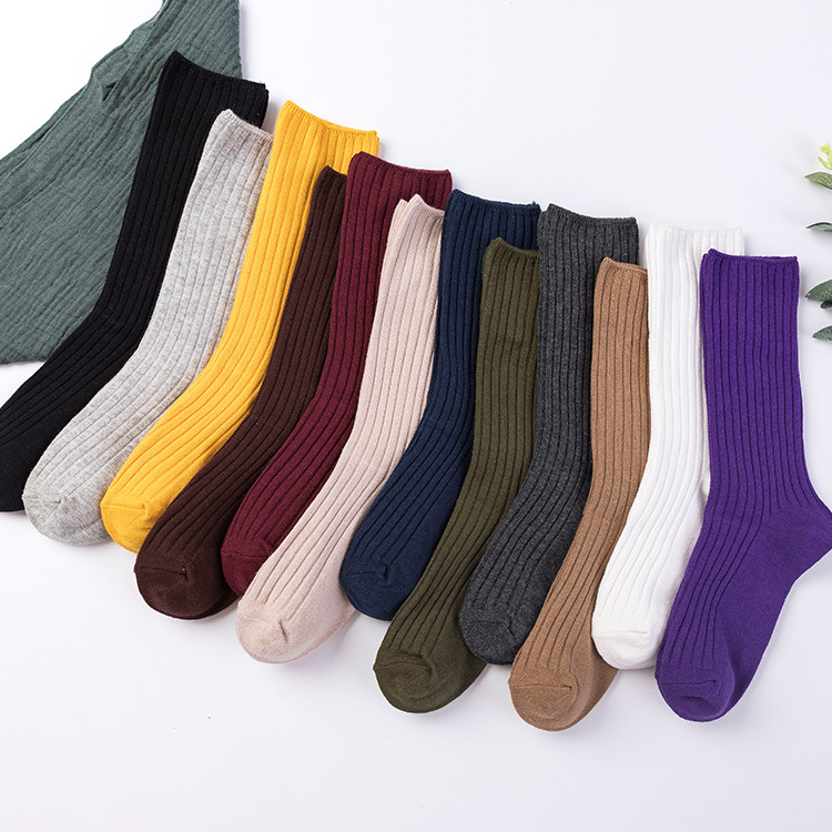 Candy Color   Socks   Retro Women Lady Solid Color Cotton Loose   Socks   In Tube Purple Blue Yellow Pink For Spring Autumn Winter