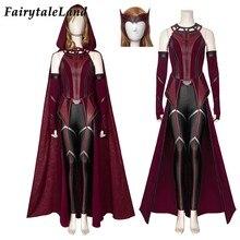 Superheroína halloween scarlet cosplay traje de bruxa alta qualidade visão wanda maximoff batalha outfit