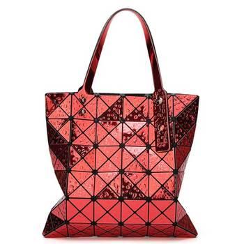 6*6 Newest Tote Bags Geometry Drip Japan Style Women Geometry Bao Tote Handbag Laser Diamond Lattice Shopper Folding Bag - Red