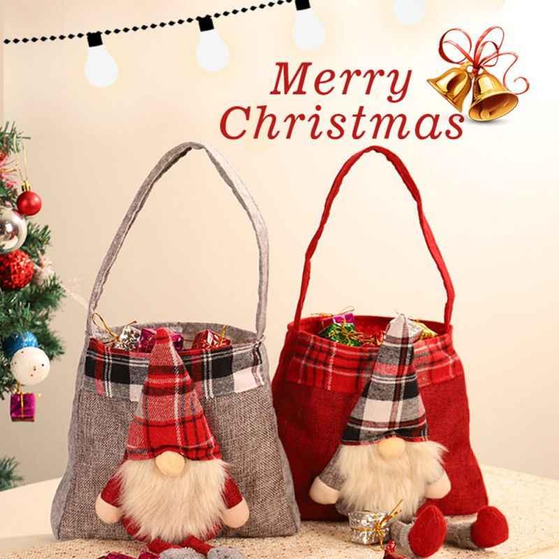 Рождественские красные подарки мешок мультфильм нет лицо Санта Клаус конфеты