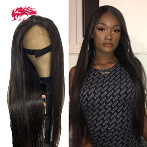 Прямые 13х4 HD прозрачные кружевные фронтальные парики с preplecked Hairline 150% / 180% бразильские таможенные парики Remy человеческие волосы парики