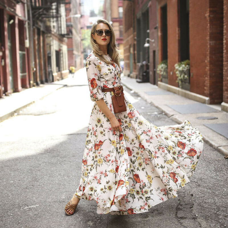 NEDEINS Women's Fashion Flowers Dress Floral Maxi Boho Summer Beach  Weekend Party Round Neck Nine-point Sleeve Sexy Long Dress