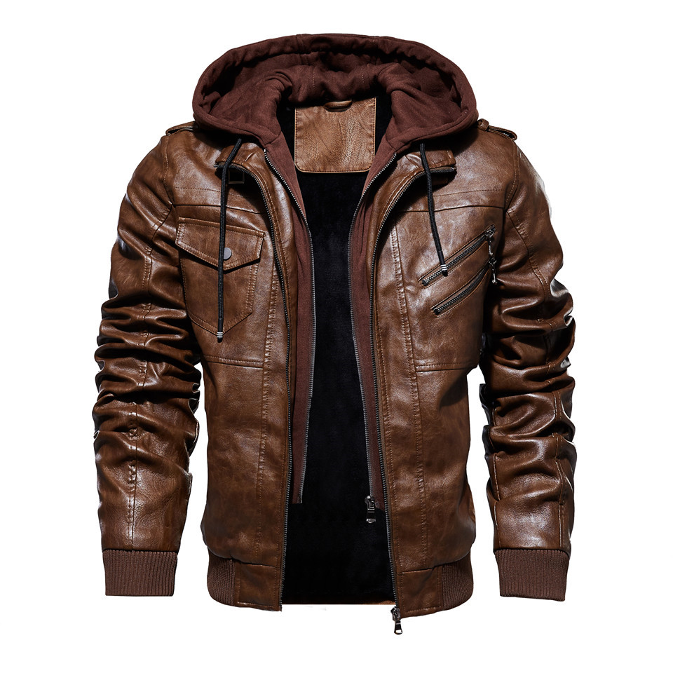 H57a72ddfa4e74af0b1a81e72daa28fb7f Mens PU Jackets Outwear Leather Hooded Biker Coat Men 2019 Cool Motorcycle Jacket Male Winter Autumn Jaquetas De Motocicleta 4XL