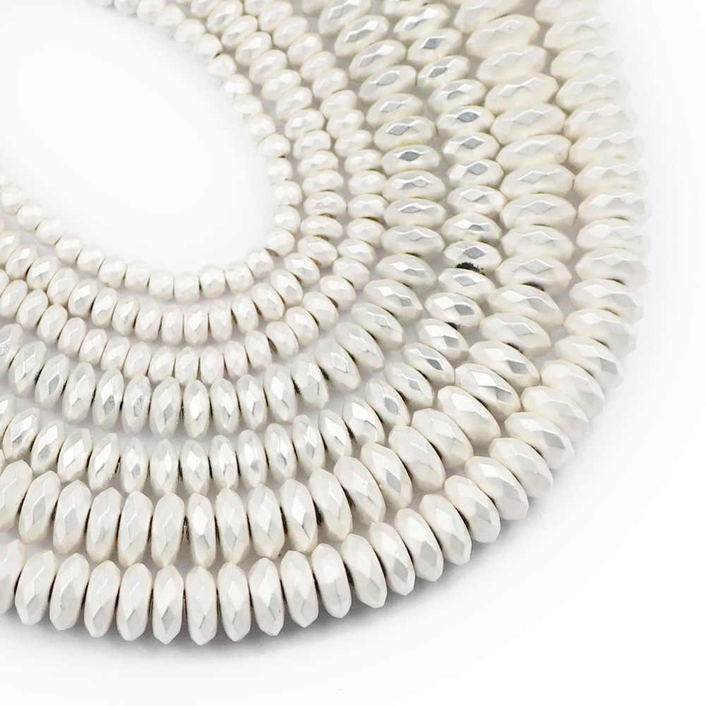 Jhnby DIY Ragam Datar Bulat Hematit Matte Perak Emas Batu Alam 3/4/6/8 Mm Spacer longgar Beads untuk Perhiasan Membuat Gelang