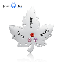 Leaf-Brooches Custom Personalized Jewelora for Women 3-birthstone-brooch/Jewelry/Gift